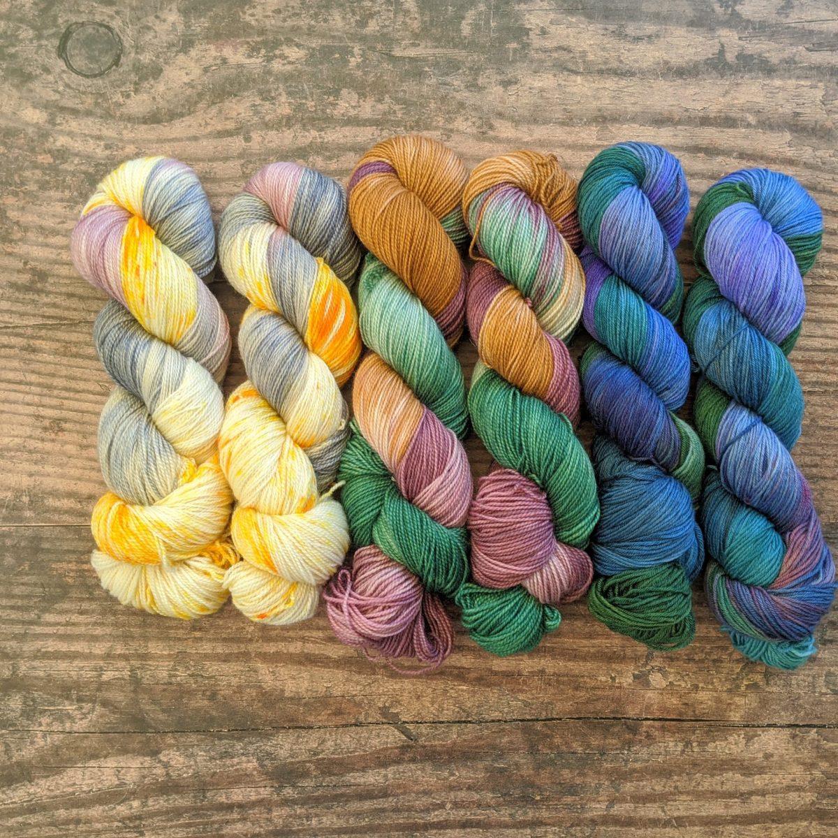 Hand dyed yarn skeins