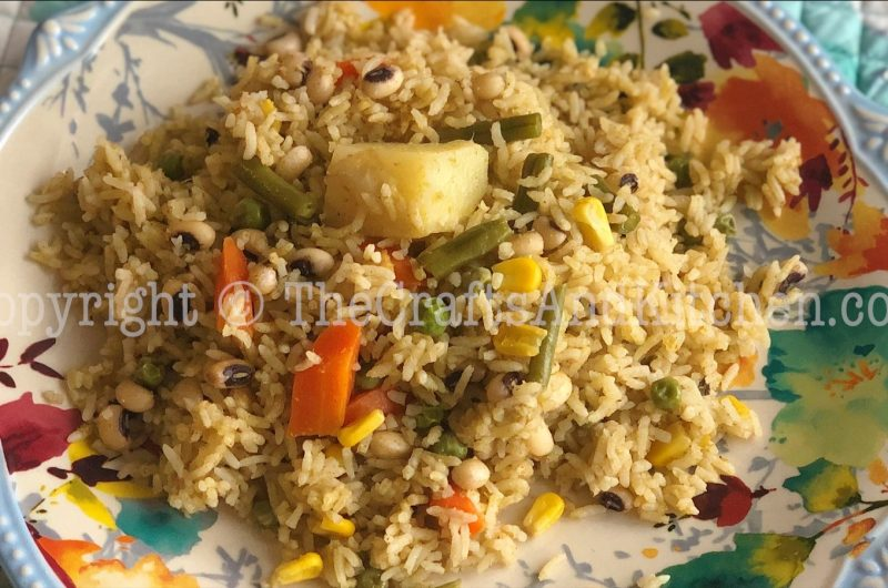 Coriander Mint Pulao with Black-eyed peas and Vegetables