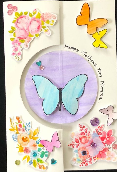 spinning butterfly card