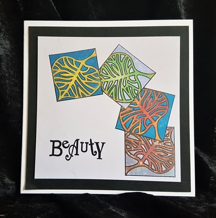 Finished card, with Beauty and stamped leaves