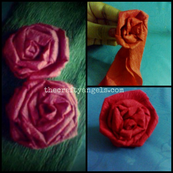 crepe paper rose flower tutorial step 2