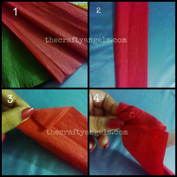 crepe paper rose flower tutorial step1