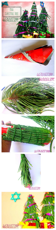 MIni christmas tree tutorial collage