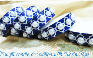 tealight candle decoration with washi tape for diwali craft