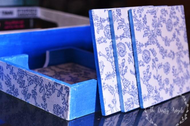 fabric decoupage coaster, indian blockprinted fabric design decoupage using mode podge