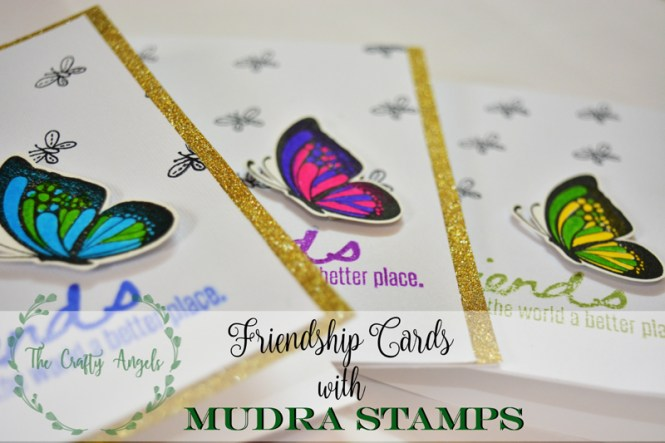 mudra stamps, indian stamp, cardmaking, butterfly card, friends card, friendship day card