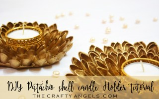 Easy to make DIY pistachio shell candle holder for diwali decoration, diwali decor, pista shell craft, pista shell reuse, pistachio shell craft, pistachio shell recycle, recycle craft, diwali decor, diya holder, diwali diya