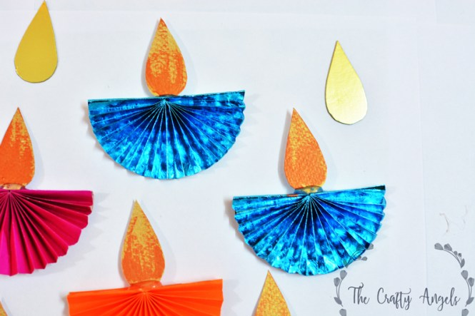 Diwali craft for kids paper diya for Art and craft for diwali decoration