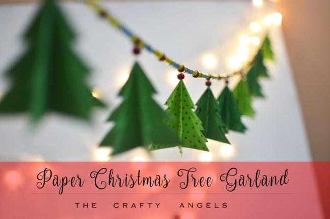 diy paper christmas tree garland, christmas tree decor, christmas tree ornament, diy tree ornament, diy paper christmas tree ornament, holiday crafting, holiday activity, holiday decor, holiday idea
