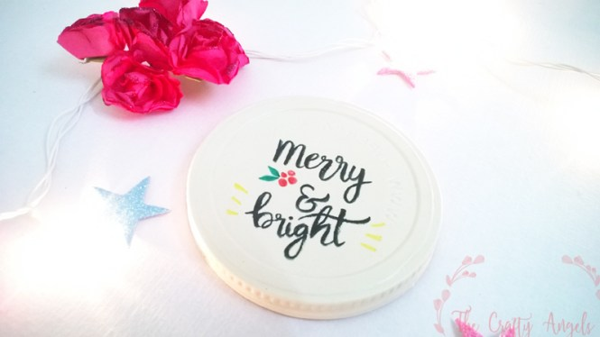 christmas crafts, DIY Jar Lid Christmas Ornaments, christmas tree ornament, DIY jar lid christmas ornament, DIY ornament, tree ornament, recycle ornament, calligraphy, brush calligraphy, handwritten christmas sentiments