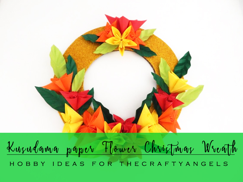kusudama paper flower, kusudama paper flower tutorial, origami flower making, flower making tutorial, paper flower making, origami paper flowers, origami christmas craft, christmas crafts, christmas wreath, diy christmas wreat, DIY paper wreath for christmas, origami kids