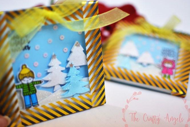snowy shadow box, snow shadow box, snow themed christmas decor, christmas decor, christmas craft, christmas idea, christmas gift, christmas craft, christmas frame
