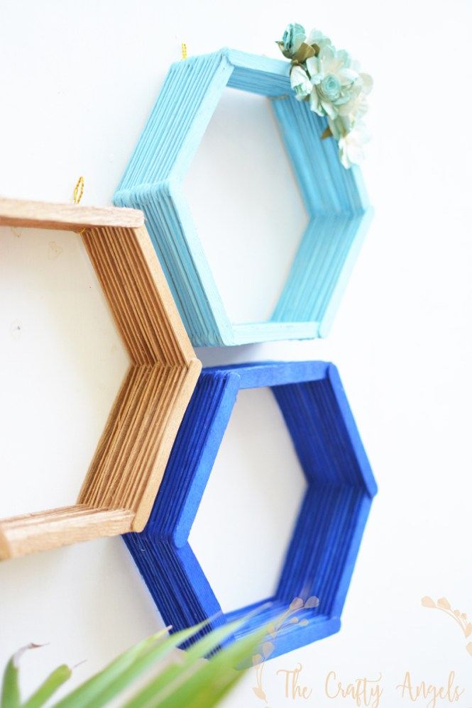diy wall shelf, diy floating wall shelf, hexagon wall shelf with popsicle, popsicle craft, popsicle shelf, simple shelf, nursery decor, diy floating shelf, indian home decor, indian craft, home craft