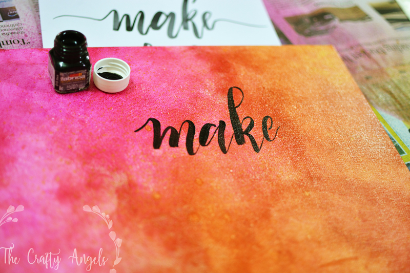 Handlettered canvas quotes , handletter wall projects, handlettered frame, handletter woodboard, handlettered wall plates, handlettered wall piece, handlettered door entry, handlettered name plate, simpla canvas art, DIY canvas art, canvas handlettering, handlettering in india, modern calligraphy in india, calligraphy blogs india, angela jose crafts, the crafty angels. diy blogs india, itsybitsy india, alcohol spray tutorial, alcohol gold splash