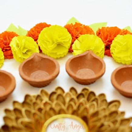 Faux DIY paper marigold flower tutorial for diwali dusshera festive decor, dusshera craft, navrathri craft, navrathri ideas, navrathri decor, diy festive decor, paper flower, diwali craft for kids, kids diwali craft, diwali paper craft