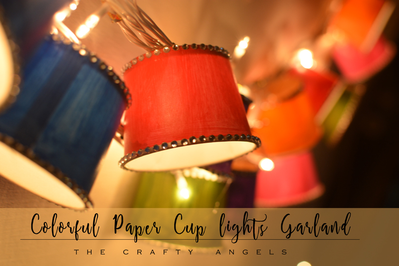 Paper Cup lights garland tutorial as diwali lighting, diwali craft, diwali decor, diwali activity, dieali kids craft, lights, diy lights, diwali lights, diwali lanterns, diwali decor project, paper cup light, paper cup lantern, papercup lampshade, paper cup crafts, christmas lights, festive light