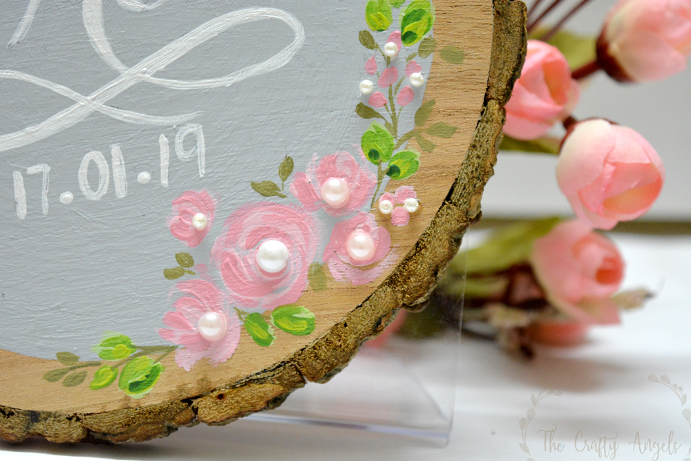 closeup hand painted wood slice