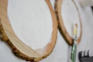 Preparing wood slice base with gesso