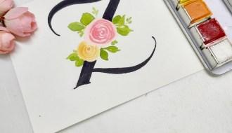 floral monogram alphabet z