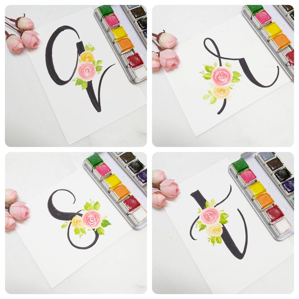 floral monogram alphabet q, floral monogram alphabet r, floral monogram alphabet s , floral monogram alphabet t