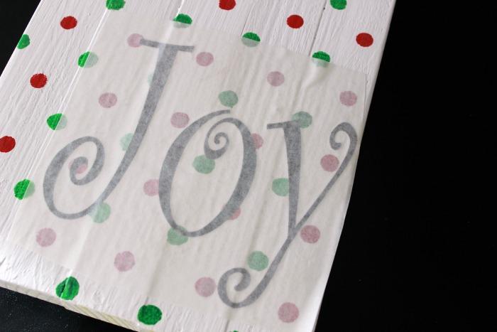 Joy Christmas Wood Sign vinyl