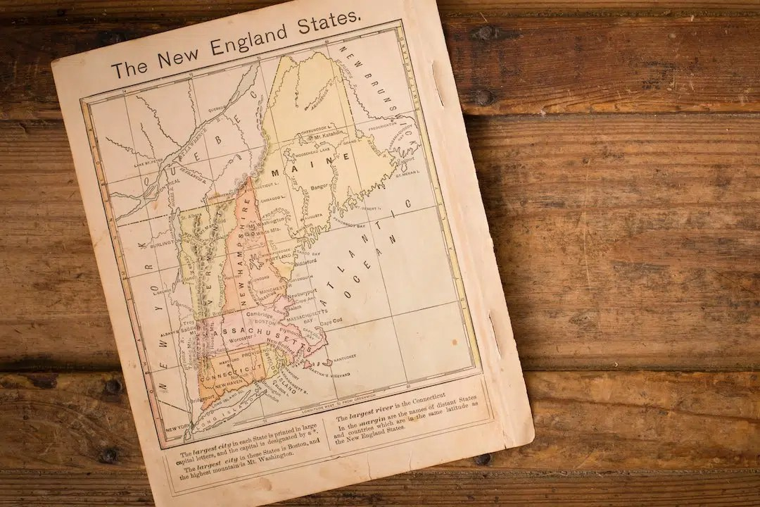 1867  Color Map of New England States  With Copy Space   The Crafty Cask Color image of an old map of the New England States  from 1867  sitting