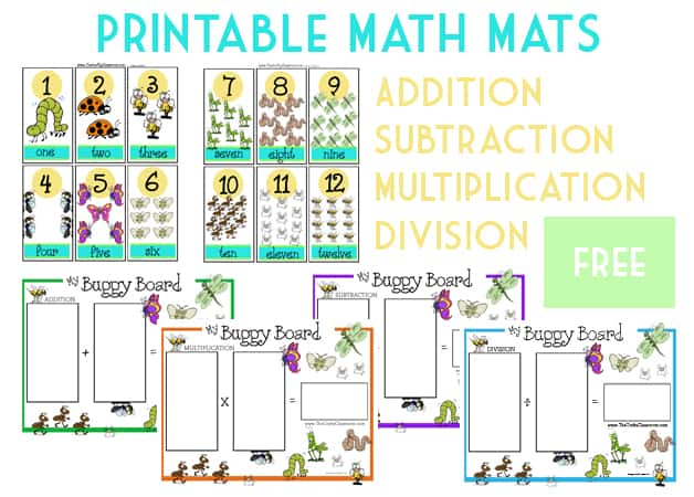 picture relating to Printable Mats named Printable Math Mats - The Cunning Clroom