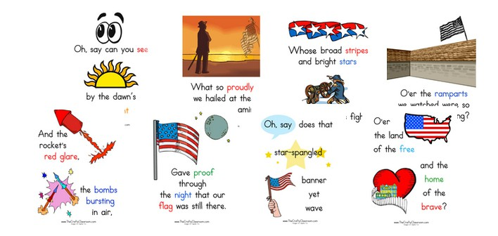 picture regarding Words to the Star Spangled Banner Printable titled Star Spangled Banner Printables - The Cunning Clroom