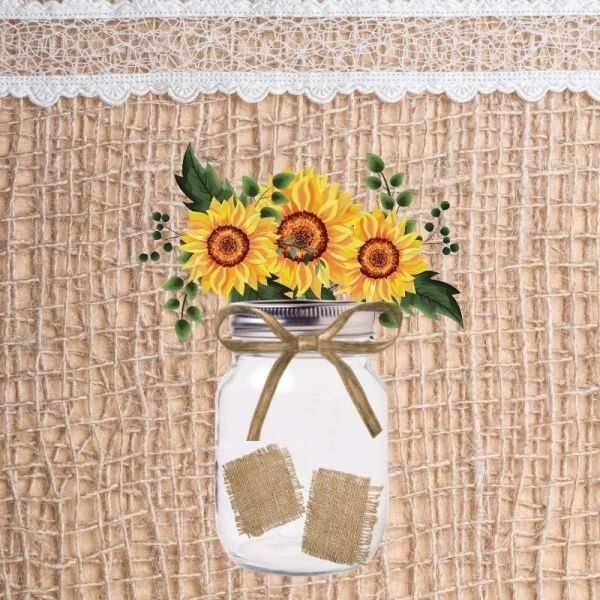 sunflowrs in a jar with burlap background printable