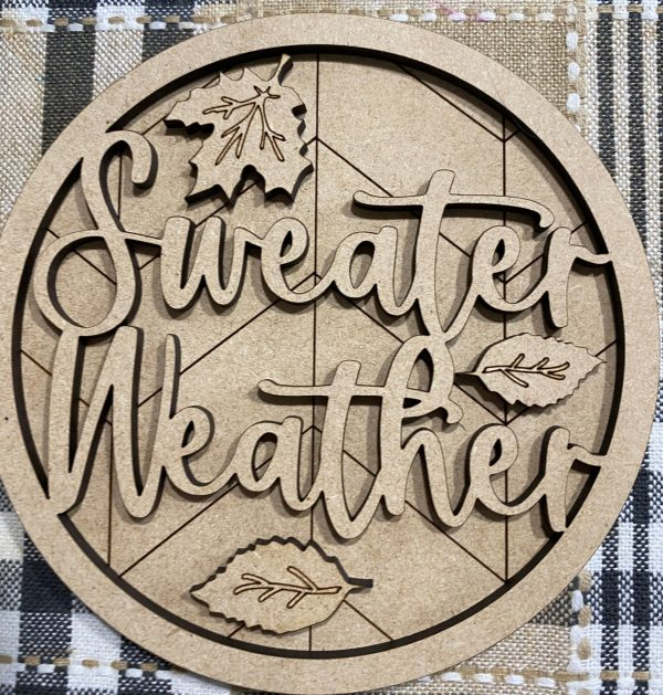 round mini sweater weather wood cutout sign for tiered tray