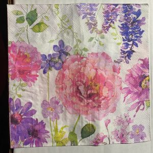 pink and purple floral luncheon napkin 2 ply