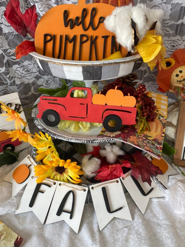 individual vintage truck with pumpkins in the back and the fall pennant banner and hello pumpkin sign that is part of pumpkin patch tiered tray kit