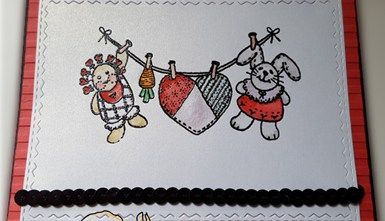 Handcrafted Valentine's Day Card - Clothesline Critters
