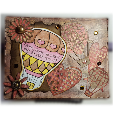 Handcrafted Valentine's Day Card - Hot Air Balloon