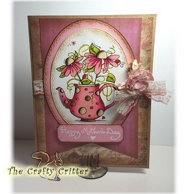 Handcrafted Mother's Day Card - Teapot Flowers