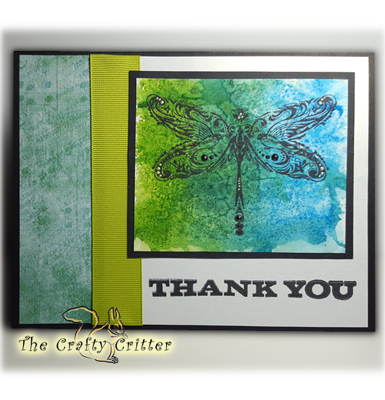 Handcrafted Thank You Card - Dragonfly