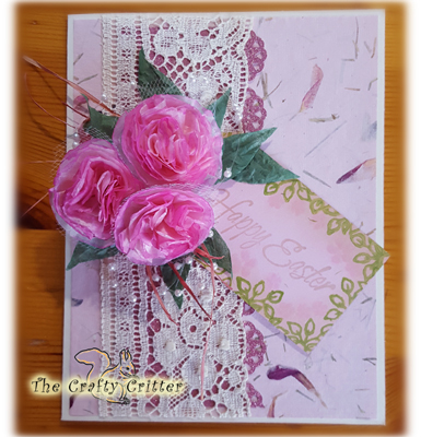 Handcrafted Easter Card - Carnations and Pearls
