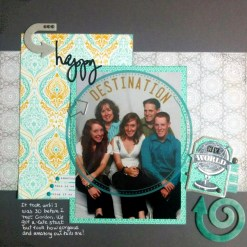 Anne-Marie Marcoux: Recipe complete! Not bad considering I hardly ever use gray in a layout. That was fun! All supplies are more than a year old except the stamp and some enamel dots. Got my 3 arrows, 2 of which are chipboard. I even got a travel themed transparency and stamp!