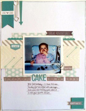 """Susan Brochu: I think I got everything in there! Teal, gray & white cardstock, 3 patterned papers, three arrows (2 at the top and one on the photo), chipboard (banner at the top and the square at the bottom), something old (scallop sticker under the top of the photo is from a 2012 Pebbles sheet) and a travel embellishment (""""great adventures"""" label). This one was really fun to put together!"""