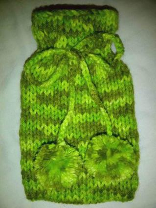 Knitted small hotwater bottle cover