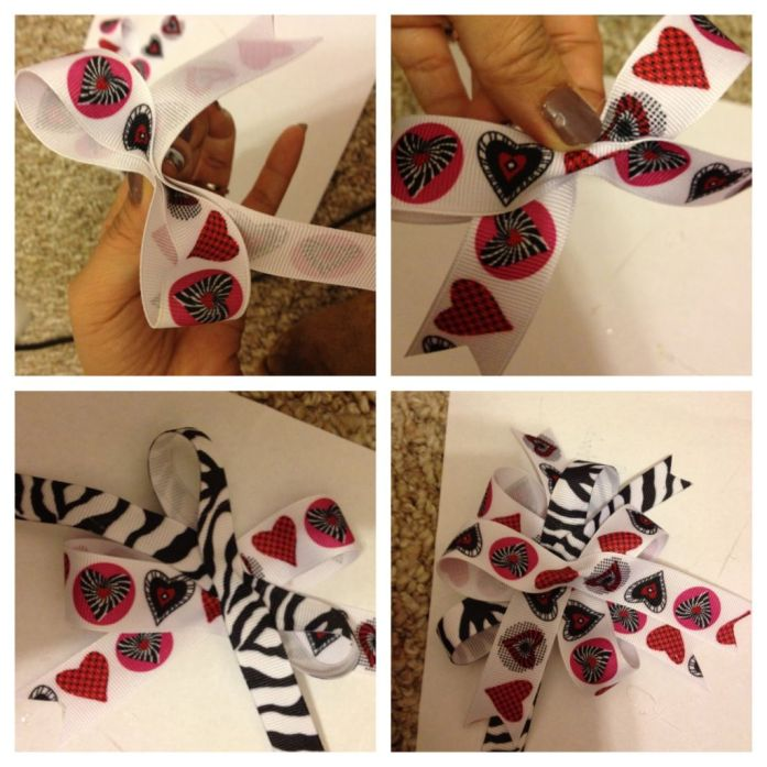 Hearts Zebra Hair Bow DIY 2