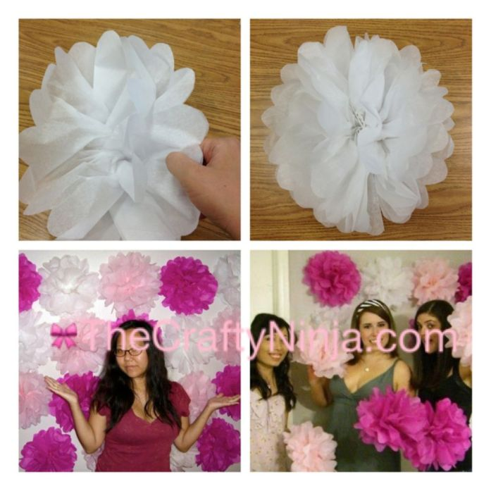 Pom Pom Tissue Flower Tutorial 4