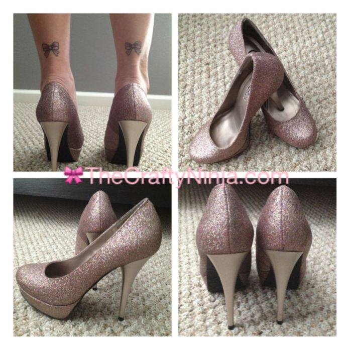 bow tattoo pink glitter stiletto shoes