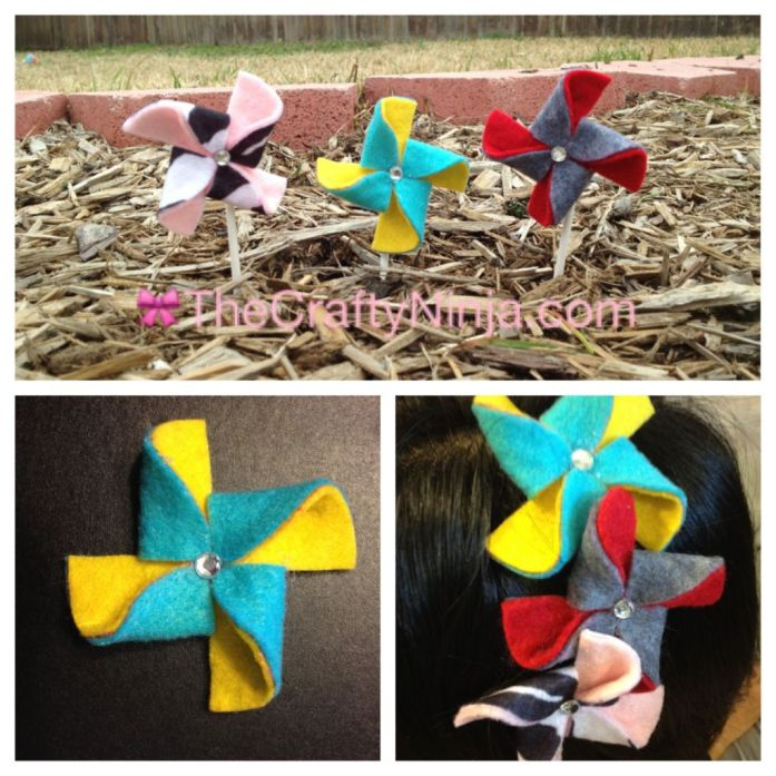 diy felt pinwheels