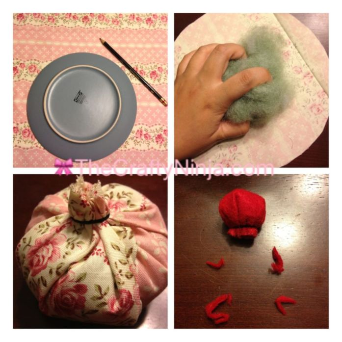no sew cupcake pincushion step