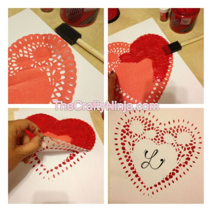 heart doily painting