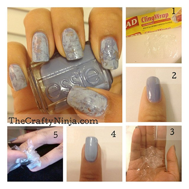 diy saran wrap nails