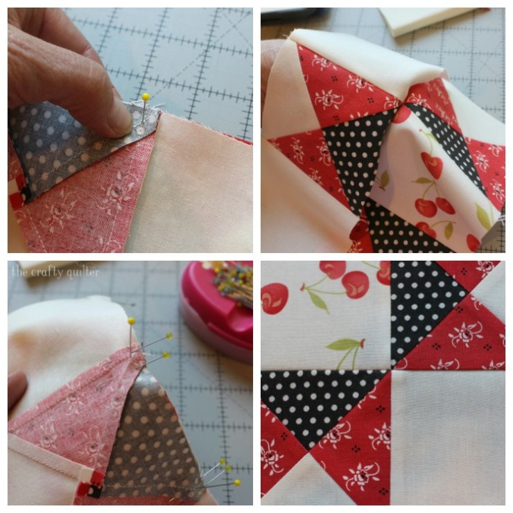 Quarter square triangle tutorial @ The Crafty Quilter.  Learn how to make perfect QST units every time and it includes an oversized cutting chart that you can download!  Plus instructions to make this beautiful Ohio Star Block