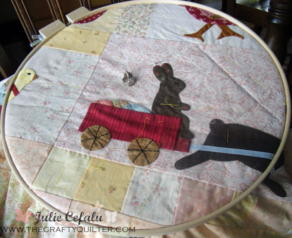 Hand quilting my rabbits at The Crafty Quilter