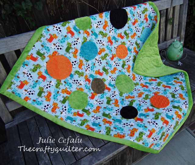 baby quilt tutorial with minky by The Crafty Quilter for Shannon Fabrics